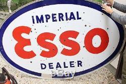 Huile De Signe De Porcelaine De La Station D'essence Vintage Double Dealer Esso Imperial Vintage