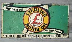 Huile Moteur Vintage Sterling Enseigne Double Face Non Porcelaine Huile De Pennsylvanie