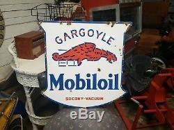 Huile Originale Mobil Gargoyle Socony Porcelaine Double Face Signe Gaz Huile Revendeur