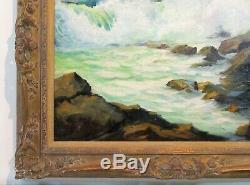 Huile Vintage 1940 Peinture Seascape Double Face Avec Fisher Signés Pêcheurs