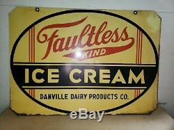 Ice Originale 1930 Irréprochable Crème Double Face Publicité Inscription Dairy Danville