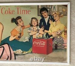 Imprimante, Originale, 1955 Coca Coca-cola Panneau De Carton À Double Face, 36 X 20