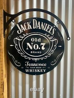 Jack Daniels Énorme Enseigne En Métal D'étain Avec Hangar Double Côté Barre Homme Grotte