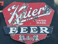 Kaiers Beer Ds Double Sided Porcelaine Publicité Inscription Mahanoy City Pa Cheval
