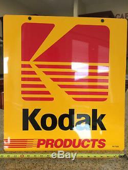 Kodak Métal Double Face Publicité Signe, Vintage, Rare, Near Mint 20 X 22