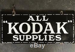 Kodak Supplies Enseigne Émaillée Double Face Authentique