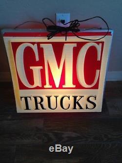 Lampe De Signalisation Publicitaire Rétro-éclairée Vintage Gmc Trucks D'un Concessionnaire À Double Face