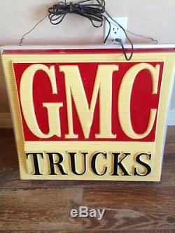 Lampe Lumineuse Avec Enseigne Publicitaire Vintage Gmc Trucks D'un Concessionnaire Double Face