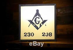 Lampe Maçonnique Publicitaire Double Enseigne Lumineuse Double Maçonnière Lodge Freemason