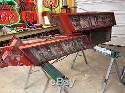 Large 8 'neon Vintage Entrer ICI Fenêtre Signe Double Affichage Du Gasoil