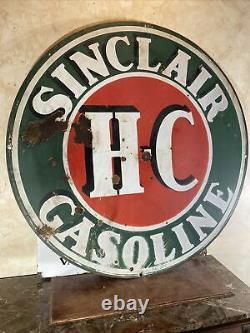 Large Original & Authentic'sinclair'' 48 Pouces Panneau De Porcelaine Double Face