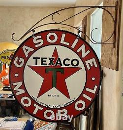 Large Vintage''texaco'' Double Sided Avec Bracket & Signal De 30 Inch Porcelaine