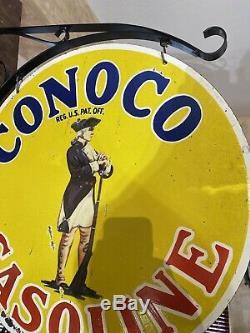 Large''conoco Essence ' ' Double Face 25 Pouces Avec Support En Porcelaine Signe De Nice