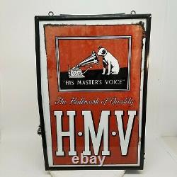 Les Années 1930 Son Chien Vocal De Maître Rca Victor Double Side Light Up Hanging Store Sign