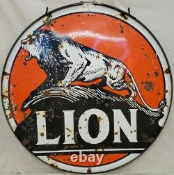 Lion Gas Oil Vintage Collectionable Porcelaine Double Sided Sign
