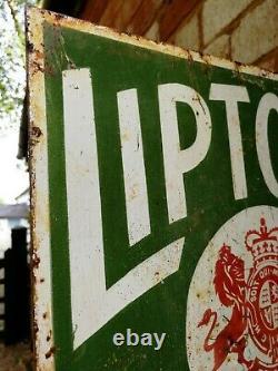 Liptons Tea Double Sided Émail Signe Vieux Signe Boutique Vieille Porcelaine Lipton