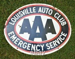 Louisville Ky Aaa Auto Club Old Antique Porcelaine Double Sign Sided Gas Oil Voiture