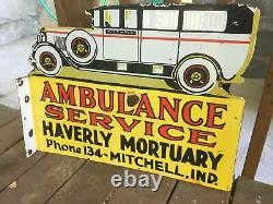 Lourde Porcelaine Bride Sign. 24 X 18 Die Cut Double Face Signe Ambulance