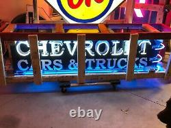 Lqqk! Chevrolet Gm Chevy Dealer Double Sided Outdoor Neon Car Truck Collection
