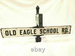 Lyle Sign Double Deded Cross Street Antique Metal Embossed Full Size Wayne Pa