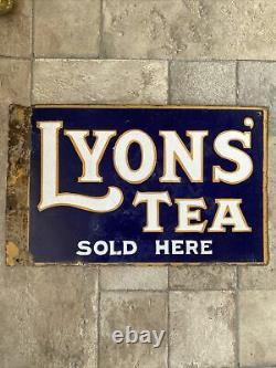 Lyons Double Face Thé Émail Panneau Publicité Excellent État