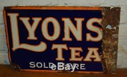 Lyons Enseigne Double Face Émaillée Publicité Mancave Garage Metal Retr