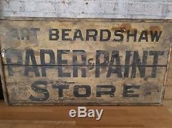 Magasin De Peinture Et De Papier Double Face Antique American Trade Sign