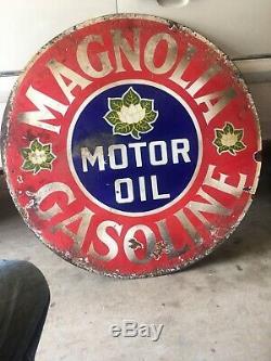 Magnolia Motor Oil Original Signé De La Porcelaine À Double Face