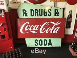 Médicament Double Face En Porcelaine Coca-cola, Années 1950