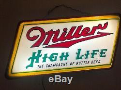 Miller High Life Le Champagne De Bière Double Signe Sided Lumière-up 1940