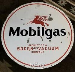 Mobilgas Originale Socony Double Face Gas-oil Porcelaine Sign Mobil Vide 30