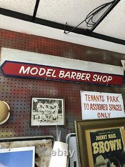 Modèle Vintage Panneau De Magasin Barber 42x8 Bois Double Face De Ypsilanti MI