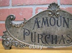 Montant Antique Acheté Caisse Enregistreuse Topper Signe Double Face Ornée