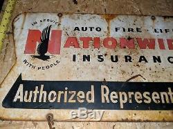 Nationwide Insurance Originale Double Face Signe Métal Avec Étiquette Nom Suspendu 1955