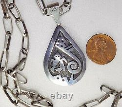 Native American Sterling Double Sided Pendentif 36.8g Signé Trinidad Lucas Hopi