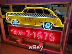 New Vintage Taxi Double Face Néon 72w X 42h Néons Vie Warr