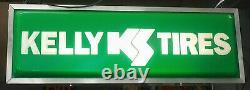 Nouveau Panneau De Concessionnaire Éclairé Kelly Tires 12 X 36 Silver Frame Double Dealt