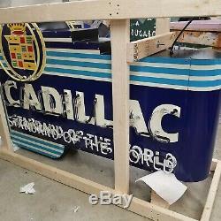 Nouvelle Cadillac Double Face Signe Émail Peint Avec Bullnose & Neon 72w X 48h