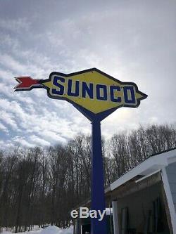 Oil Service Vintage Sunoco Station Essence Double Face Signe Porcelaine Pole