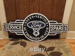 Old Ford Service Concessionnaire Double Face En Porcelaine Connexion