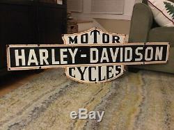 Old Grande Harley Moto Double Face Porcelaine 50 Signe
