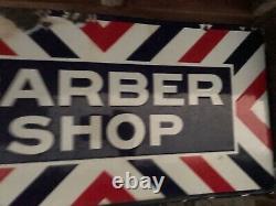 Old Original Vintage Porcelain Barber Shop Double Sided Flange Sign Rod Shop