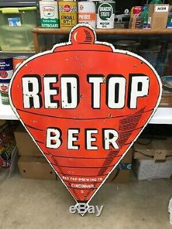 Old Red Top Beer Grand, Lourd Double Face Acces De Porcelaine (48x 32), Nice Sig