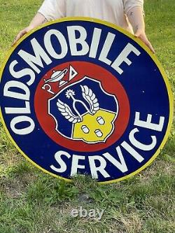 Oldsmobile Service Panneau D'émail En Porcelaine À Côtés Double! Huge