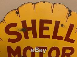 Orig Vintage Shell Huile De Moteur Double Face En Porcelaine Plaque À Clapets Gaz 25 X 24