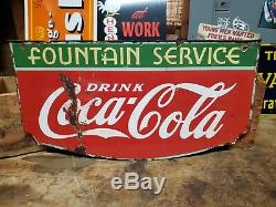 Original 1935 Services De Fontaine En Porcelaine À Double Face Signe Coca Cola Soda