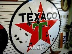Original 1937 Texaco Double Sided Porcelain Advertising Sign 6 Ft. Diamètre