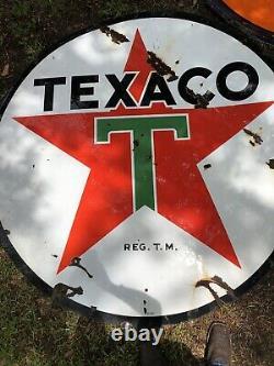 Original 1950 Texaco Double Face Porcelaine Panneau Publicitaire 6 Ft