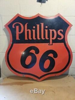 Original 1955 30 Pouces Phillips 66 Enseigne Publicitaireduble Face Porcelainesps 55