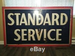 Original 1958 Signe De Station-service En Porcelaine Recto-verso Service Standard Très Agréable